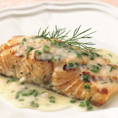 Poached Salmon With Cannabis Butter Sauce