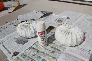 Ivory Spray Paint on 4 inch ducting pumpkins